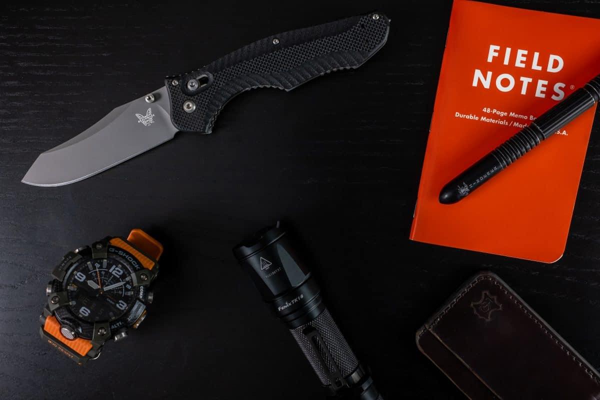 Pocket Dump of Benchmade Contego, Fenix TR16, G Shock Watch, Field Notes pen, Grommet's Leathercraft wallet