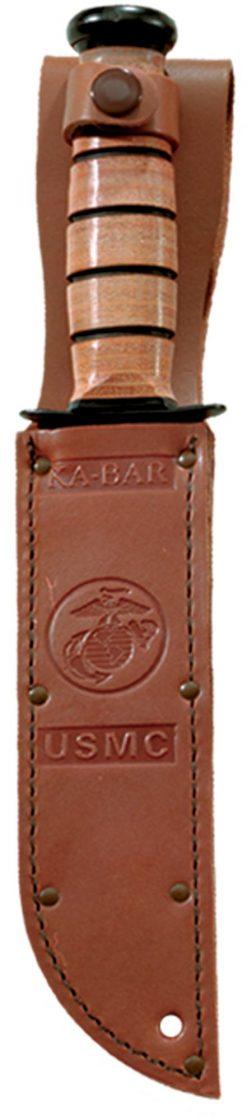 Ka-Bar USMC Fighting Knife 1095 Combo Edge Blade Brown Leather Handle In Sheath