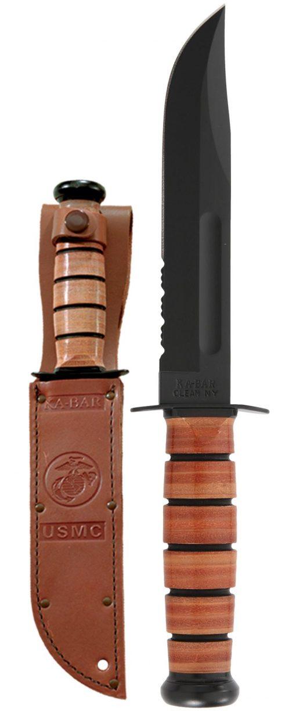 Ka-Bar USMC Fighting Knife 1095 Combo Edge Blade Brown Leather Handle Front Side With Sheath