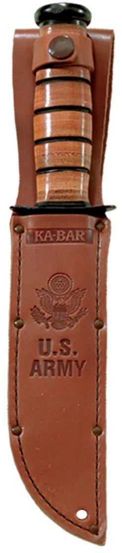 Ka-Bar US Army Fighting Knife 1095 Blade Brown Leather Handle In Sheath