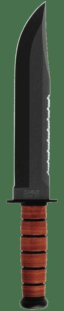 Ka-Bar Big Brother Knife 1095 Blade Brown Leather Handle Front Side