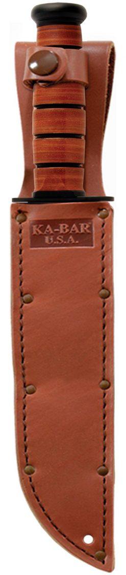 Ka-Bar Big Brother Knife 1095 Blade Brown Leather Handle In Sheath