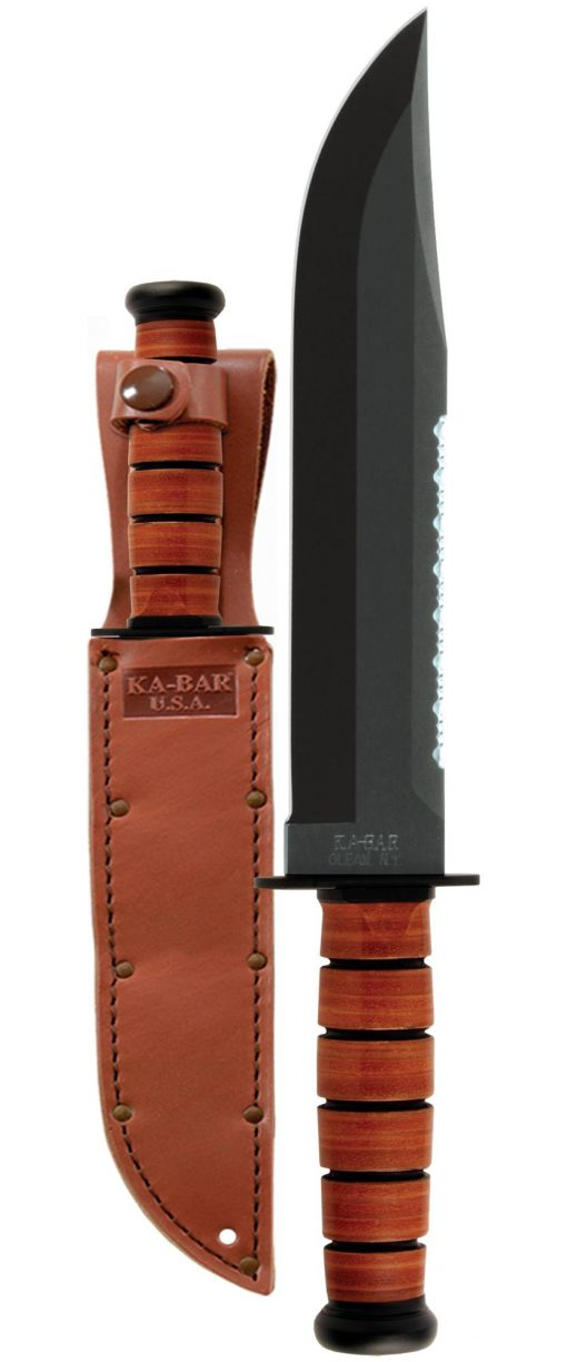 Ka-Bar Big Brother Knife 1095 Blade Brown Leather Handle Front Side With Sheath