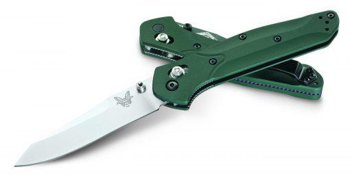 Benchmade 940 Reverse Tanto S30V Blade Green Aluminum Handle Purple Titanium Spacer