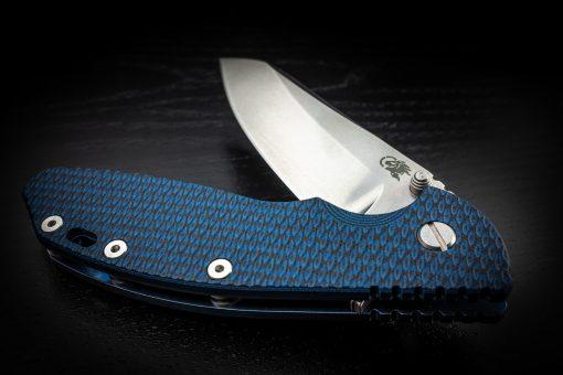 "Hinderer XM-24 4"" 20CV Sheepsfoot Blue Stonewashed Handle Blue/Black G10 Tri-Way Pivot"