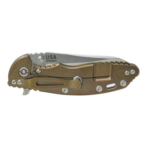 "Hinderer XM-18 3.5"" Skinny Sheepfoot CPM 20CV Black G10 Bronze Lockside Stonewash Finish BSC"