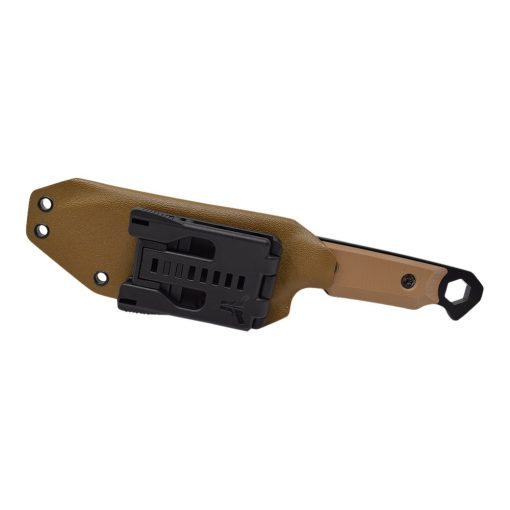 Medford STA Sniper D2 PVD Drop Point Coyote G10 Back Side in sheath