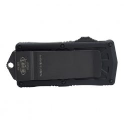 Microtech Exocet Black Double Edged CA Legal OTF Tactical Automatic Knife Black Handle Back Side Closed