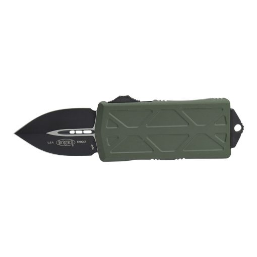 Microtech Exocet Black Double Edged CA Legal OTF Automatic Knife OD Green Handle Front Side Open