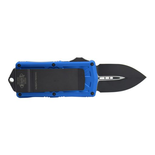 Microtech Exocet Black Double Edged CA Legal OTF Automatic Knife Blue Handle Back Side Open