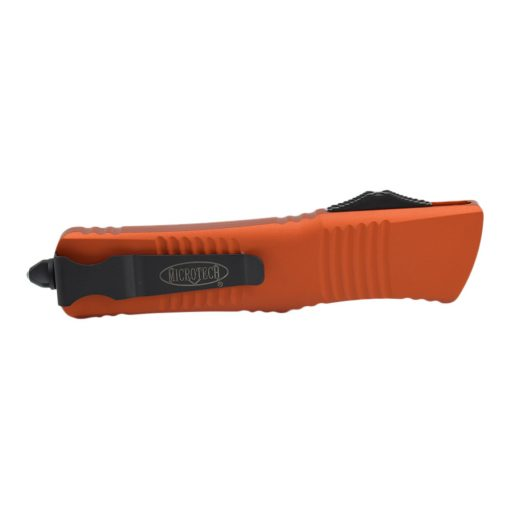 Microtech Combat Troodon Black Double Edged Dagger OTF Automatic Orange Handle Back Side Closed