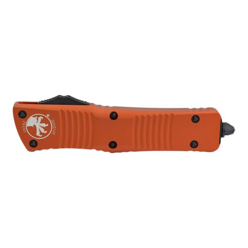 Microtech Combat Troodon Black Double Edged Dagger OTF Automatic Orange Handle Front Side Closed