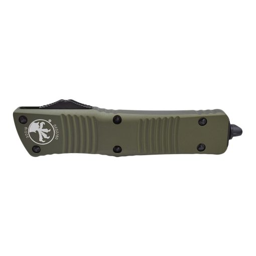 Microtech Combat Troodon Black Double Edged Dagger OTF Automatic OD Green Handle Front Side Closed
