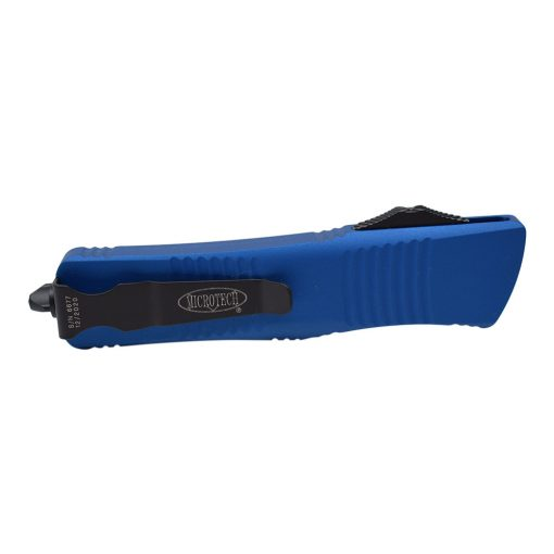 Microtech Troodon Black Double Edge Dagger OTF Automatic Knife Blue Handle Back Side Closed