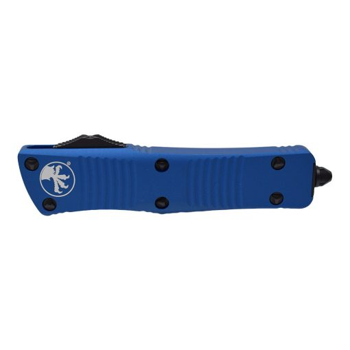 Microtech Troodon Black Double Edge Dagger OTF Automatic Knife Blue Handle Front Side Closed