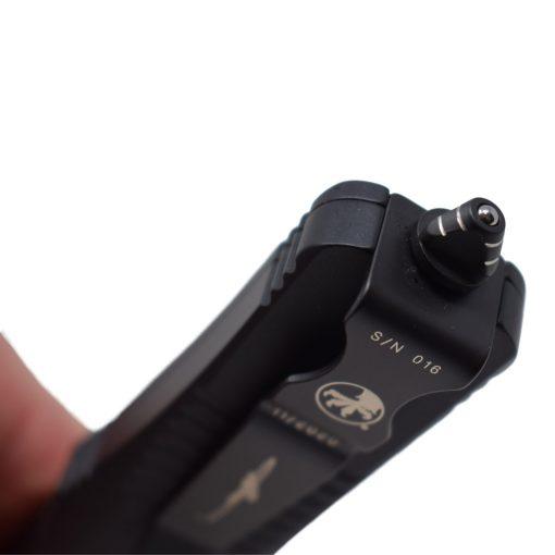 Microtech Troodon Tactile Edge Damascus Signature Series Ringed Hardware Black Aluminum Handle Glass Breaker
