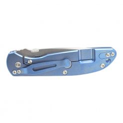 Hinderer FireTac Stonewash 20CV Recurve Frame Lock Knife Stonewash Blue Titanium Black G-10 Back Side Closed