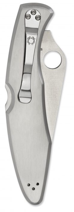 Spyderco Police Lockback Knife Partially Serrated Satin Stainless Steel Handle Back Side Closed