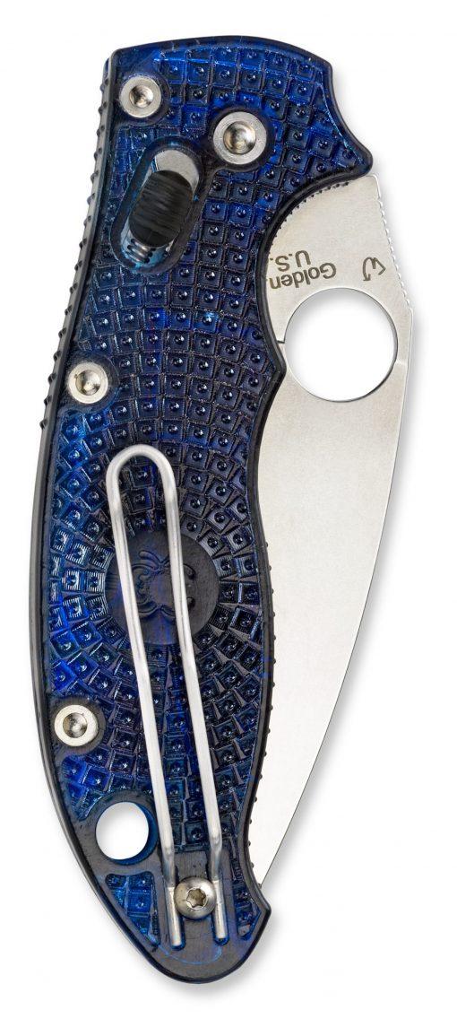 Spyderco Manix 2 Lightweight Knife Satin Translucent Dusk Blue FRCP Handle Back Side Closed