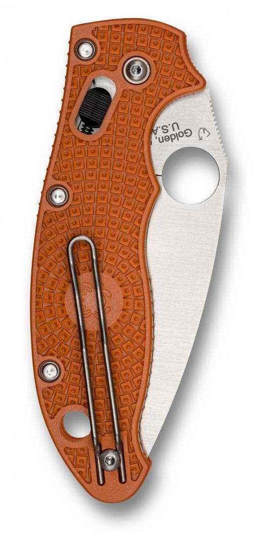Spyderco Manix 2 Lightweight Knife Satin Burnt Orange FRCP Handle Back Side Closed
