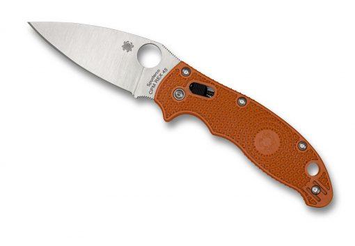 Spyderco Manix 2 Lightweight Knife Satin Burnt Orange FRCP Handle Front Side Open