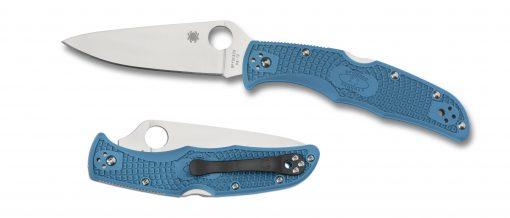 Spyderco Endura 4 Lockback Knife Satin Plain Edge Blue FRN Handle Both