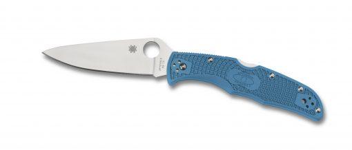 Spyderco Endura 4 Lockback Knife Satin Plain Edge Blue FRN Handle Front Side Open