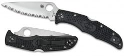 Spyderco Endura 4 Lockback Knife Satin Serrated Black FRN Handle Both