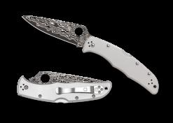 Spyderco Endura 4 Lockback Knife Damascus Plain Edge Blade Titanium Handle Front Side Open and Front Side Closed