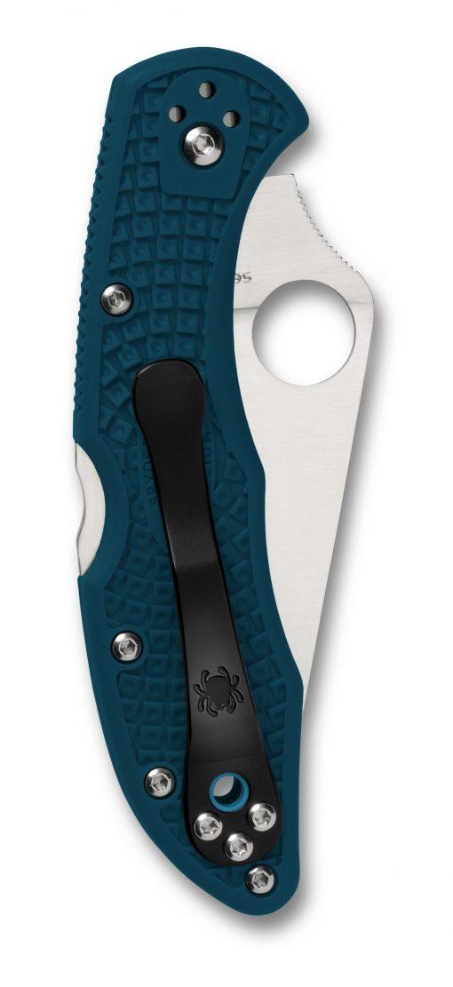 Spyderco Delica 4 Lockback Knife Satin K390 Flat Ground Blue FRN Handle Back Side Closed