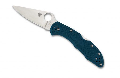 Spyderco Delica 4 Lockback Knife Satin K390 Flat Ground Blue FRN Handle Front Side Open