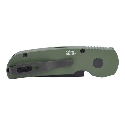 Protech Calmigo Automatic Black 154CM Blade Dark Green Handle Back Side Closed