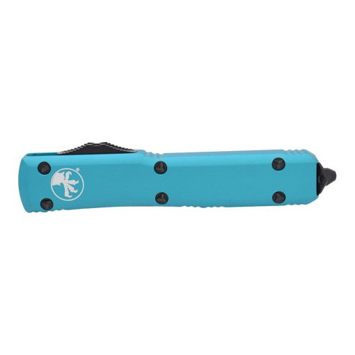 Microtech UTX-85 T/E Black DLC OTF Automatic Knife Turquoise Handle Front Side Closed