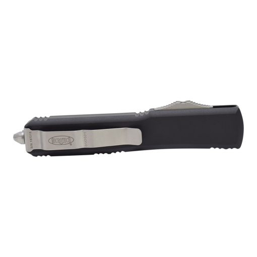 Microtech Ultratech T/E Satin OTF Automatic Knife Black Handle Back Side Closed