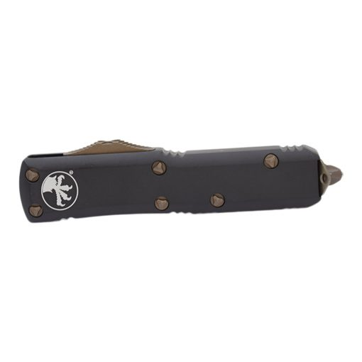 Microtech UTX-85 S/E Apocalyptic Bronze Blade OTF Automatic Knife Black Handle Front Side Closed