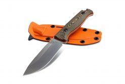Benchmade Saddle Mountain Skinner S30V Blade Richlite Handle Front Side With Sheath Orange Side
