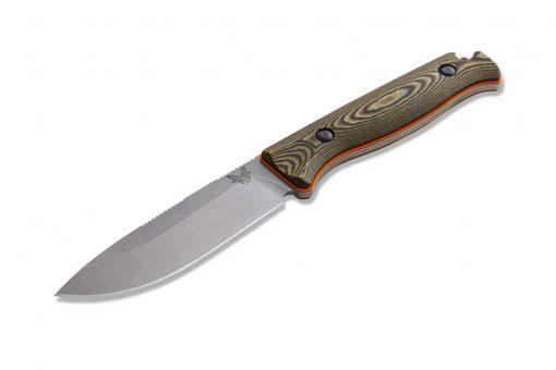 Benchmade Saddle Mountain Skinner S30V Blade Richlite Handle Front Side Angled