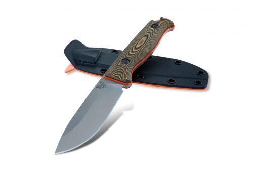Benchmade Saddle Mountain Skinner S30V Blade Richlite Handle Front Side With Sheath Black Side