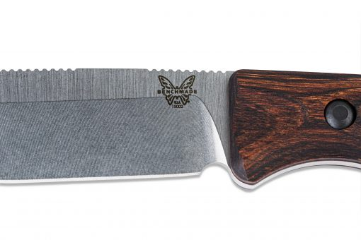 Benchmade Saddle Mountain Skinner S30V Blade Wood Handle Blade Close Up