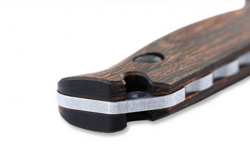 Benchmade Saddle Mountain Skinner S30V Blade Wood Handle Handle Close Up 2