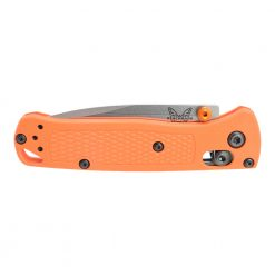 Benchmade Mini Bugout S30V Drop Point Orange Grivory Handle Front Side Closed