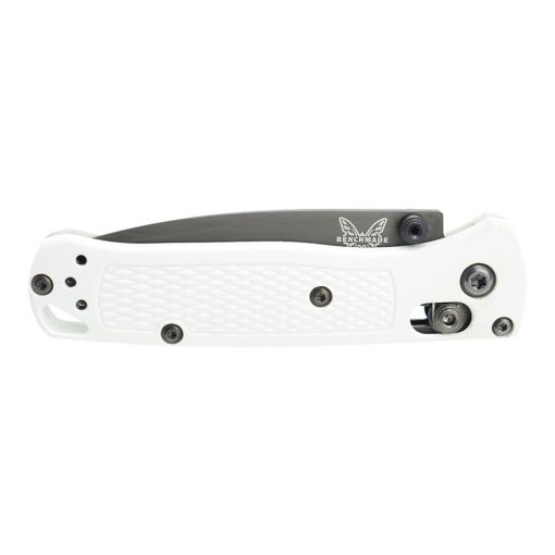 Benchmade Mini Bugout Black S30V Blade White Grivory Handle Front Side Closed