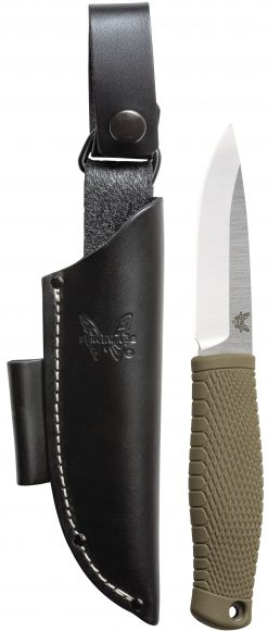 Benchmade Puukko CPM-3V Blade Ranger Green Satoprene Handle Front Side With Sheath
