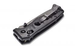 Benchmade Mini Adamas FPR Tungsten Grey Cerakote Blade Black G-10 Handle Back Side Closed Close Up