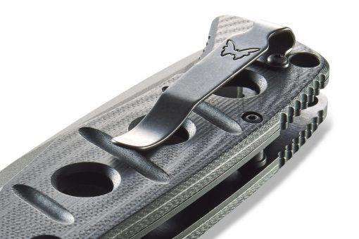 Benchmade Adamas Grey CPM-CruWear Blade Black G-10 Handle Clip Close Up