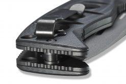 Benchmade Adamas Grey CPM-CruWear Blade Black G-10 Handle Clip Close Up 2