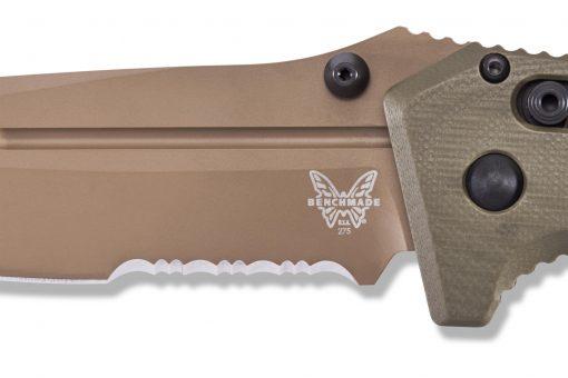 Benchmade Adamas Flat Earth CPM-CruWear Blade OD Green G-10 Handle Blade Close Up
