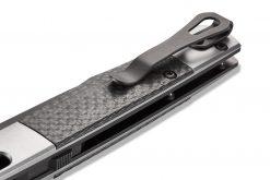 Benchmade Auto Fact FPR Black DLC Blade Aluminum/Carbon Fiber Handle Back Side Closed Close Up