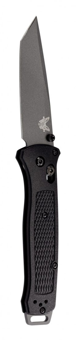 Benchmade Bailout Grey CPM-3V Tanto Blade Black Grivory Handle Front Side Open Up