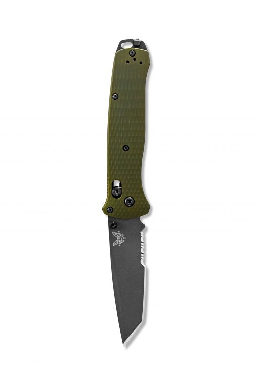 Benchmade Bailout Grey CPM-3V Combo Tanto Blade Woodland Green Aluminum Handle Front Side Open Down